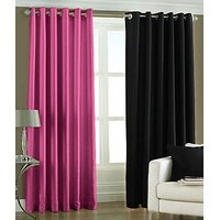 ILiv Plain Eyelet Curtain 7Ft ( Set Of 2 )- Pink & Black