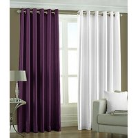 ILiv Plain Eyelet Curtain 7Ft ( Set Of 2 )- Purple & White