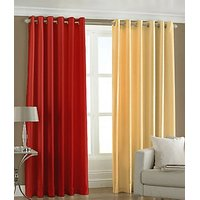 ILiv Plain Eyelet Curtain 9Ft ( Set Of 2 )- Red & Fawn