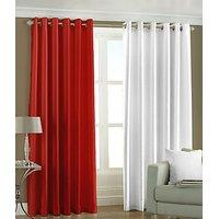 ILiv Plain Eyelet Curtain 9Ft ( Set Of 2 )- Red & White
