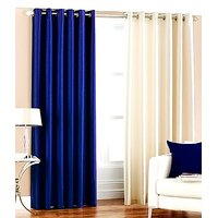 ILiv Plain Eyelet Curtain 7Ft ( Set Of 2 )- Royal Blue & Cream