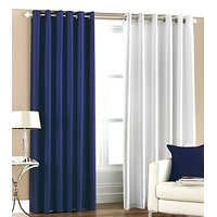 ILiv Plain Eyelet Curtain 7Ft ( Set Of 2 )- Royal Blue & White