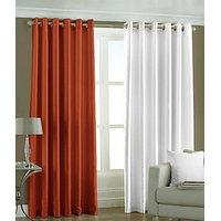 ILiv Plain Eyelet Curtain 9Ft ( Set Of 2 )- Rust & Yellow