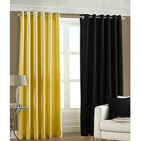ILiv Plain Eyelet Curtain 7Ft ( Set Of 2 )- Yellow & Black