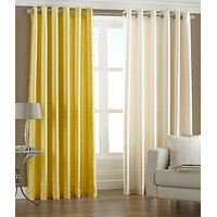 ILiv Plain Eyelet Curtain 7Ft ( Set Of 2 )- Yellow & Cream