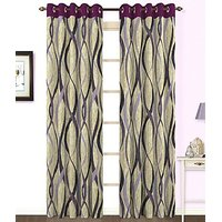 ILiv Purple Jute Curtain - 7Ft