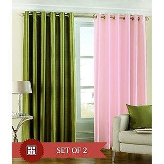 iLiv Plain Eyelet Long Door Curtain 9Ft  Set Of 2 -1green1babypink9ft