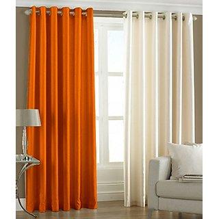 iLiv Plain Eyelet Long Door Curtain 9Ft  Set Of 2 -1orange1cream9ft