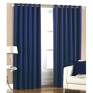 iLiv Polyester Multicolor Solid Eyelet Door CurtainSet Of 2-2crushBlue7ft