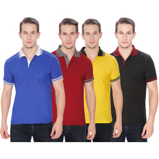 Baremoda Men's Black, Maroon, Yellow And Blue Plain Cotton Polo Collar T-Shirt (Pack of 4)