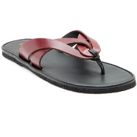 Franco Leone Red Synthetic Sandals And Floaters