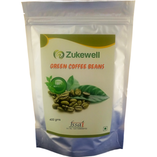 Zukewell Green Coffee Beans Unroasted Arabica Coffee Beans - 400gm for Weight Loss Management Pack of 1