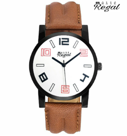 Mark Regal White Dial Brown Leather Strap Men's  Watch