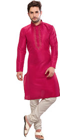 abc garments Men's Kurta and Pyjama Set Pink