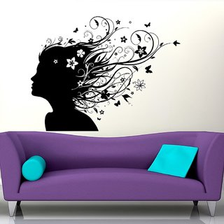 Decor Villa Wall Sticker (Girl with hair look ,Surface Covering Area 17 x 22 Inch)