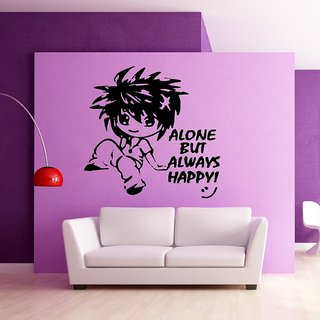 Decor Villa Wall Sticker (Alone but happy ,Surface Covering Area 23 x 23 Inch)