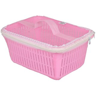 Rectangle Shaped Plastic Fruit and Vegetable Basket With Net Cover (Pink)