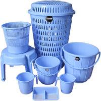 CHETAN 8PC BLUE COLOUR PLASTIC BATHROOM SET.