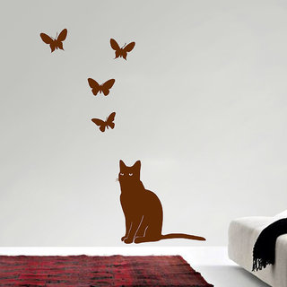 Decor Villa Wall Sticker (Cat looking butterfly ,Surface Covering Area 24 x 20 Inch)