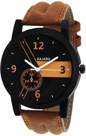 Hans Round Dail Brown And Tan Leather StrapMens Quartz Watch For Men