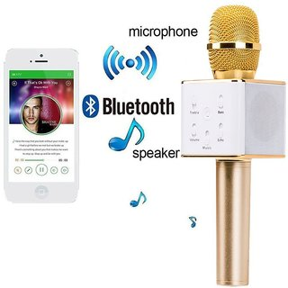CP Bigbasket Portable Wireless Karaoke Microphone Inbuilt Speaker Microphone(Golden)