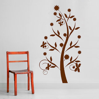 Decor Villa Wall Sticker (Tree of flower ,Surface Covering Area 17 x 31 Inch)