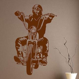 Decor Villa Wall Sticker (Bike Rider ,Surface Covering Area 17 x 29 Inch)