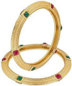 Bhagya Lakshmi Red  Green ruby Gold Plated Bangle Set For Women / Girl