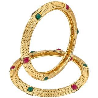 Bhagya Lakshmi Red  Green ruby Gold Plated Bangle Set For Women / Girl
