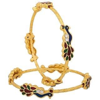 Bhagya lakshmiPeacock Design Gold Plated Jewellery Bangles For Women and Girls Set of 2