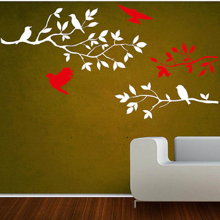 Decor Villa Wall Sticker (Sitting Bird On The Tree ,Surface Covering Area 15 x 11 Inch)