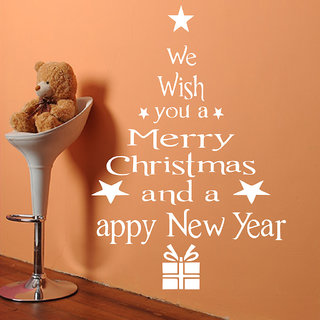 Decor Villa Wall Sticker (Merry Christmas & Happy New Year ,Surface Covering Area 23 x 34 Inch)