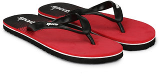 Groofer Men's Red  Black Fabrication Slippers