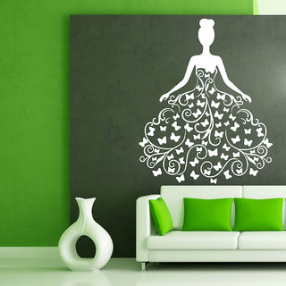 Decor Villa Wall Sticker (Butterfly Girl ,Surface Covering Area 17 x 21 Inch)