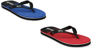 Groofer Men's Blue  Red  Fabrication Slippers  Combo