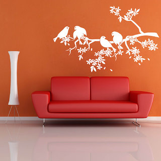 Decor Villa Wall Sticker (Branches & Birds ,Surface Covering Area 23 x 17 Inch)