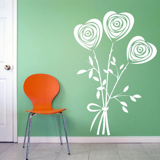 Decor Villa Wall Sticker (Heart flower ,Surface Covering Area 17 x 23 Inch)