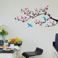 Decor Villa Wall Sticker (purple flowers,Surface Covering Area 33 x 65 Inch)