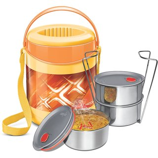 Milton Insulated Lunch Box / Tiffin With Leak Lock Steel Containers, 3 Pc Containers, Orange