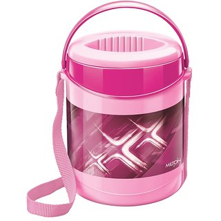 Milton Insulated Lunch Box / Tiffin With Leak Lock Steel Containers, 3 Pc Containers, Pink