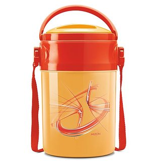 Milton Insulated Lunch Box / Tiffin With Leak Lock Steel Containers, 4 Pc Containers, Orange