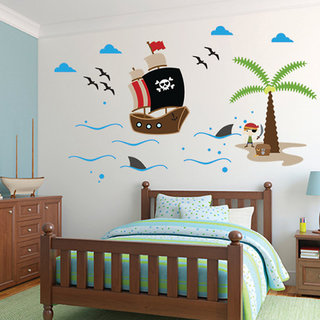Wall Sticker (Boat,Surface covering Area 29 x 17 Inch)