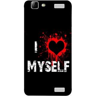 FUSON Designer Back Case Cover for Vivo V1 Max (I Love Myself Bloody Heart Black Background)