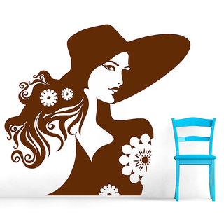 Decor Villa Wall Sticker (Girl With Flower ,Surface Covering Area 25 x 23 Inch)