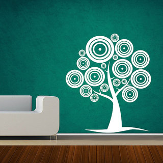 Decor Villa Wall Sticker (Round tree leaf ,Surface Covering Area 23 x 27 Inch)