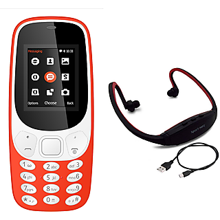 Combo of IKall K3310 (1.8 Inch,Dual Sim, BIS Certified, Made in India) With Neckband