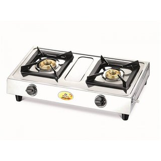 Bajaj Popular Eco Stainless Steel 2 Burner Gas Stove, Silver