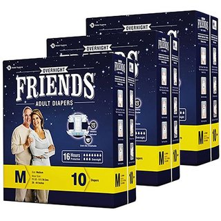 FRIENDS OVERNIGHT ADULT DIAPERS MEDIUM, PACK OF 3 ( 30 Pcs ), WITH UPTO 16 HOURS PROTECTION