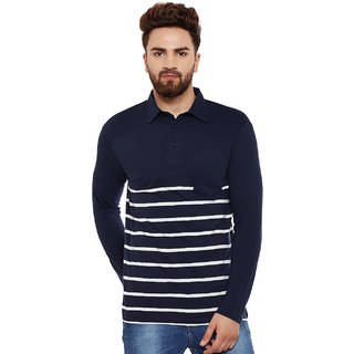 Hypernation Striped Men's Polo Neck Blue T-Shirt