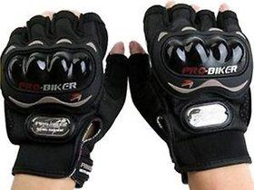 Biker Half Finger Gloves -Bike/Motorcycle/Cycle Riding Gloves-Biker Gloves